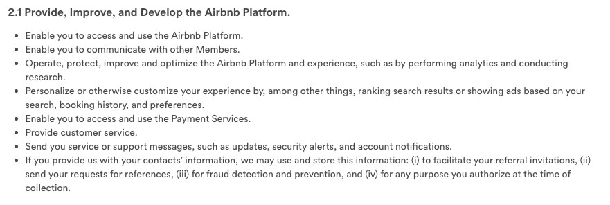 AirBnb Privacy Policy: How personal data is used clause
