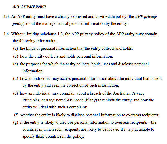 Sample Privacy Policy requirements under Australia Privacy Act