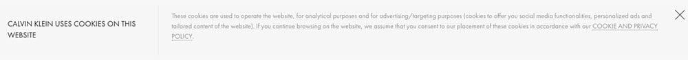 Calvin Klein: Cookies notification banner in header of website as passive user consent example