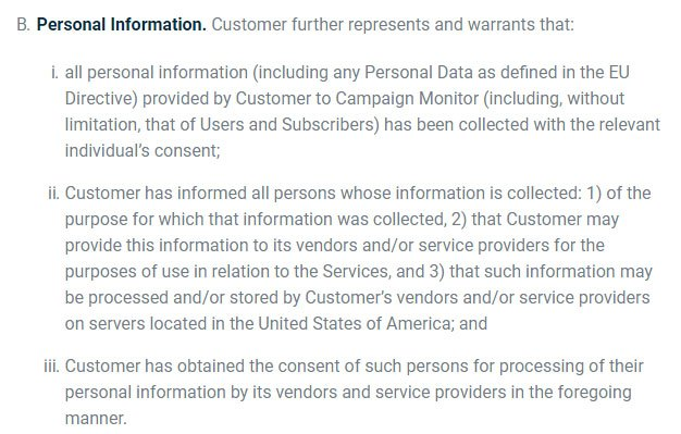 Campaign Monitor Terms of Service: Personal Information clause