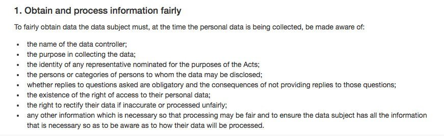 Data Protection Commissioner's Guide for Data Controllers: Obtain and Process Information Fairly - GDPR