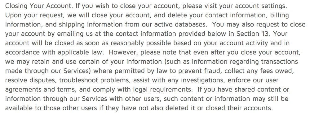 DocuSign Privacy Policy: Closing your account clause screenshot