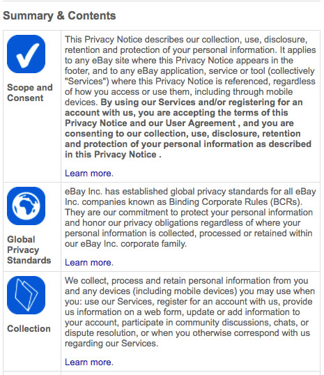 Screenshot of eBay Mobile App User Privacy Notice