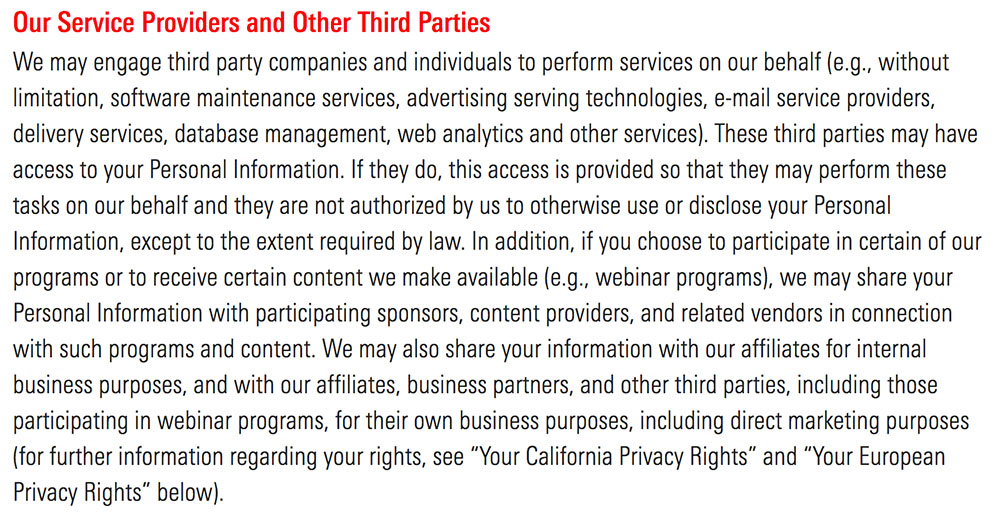eMarketer Privacy Policy: Information Sharing and Disclosure our service providers and third parties clause