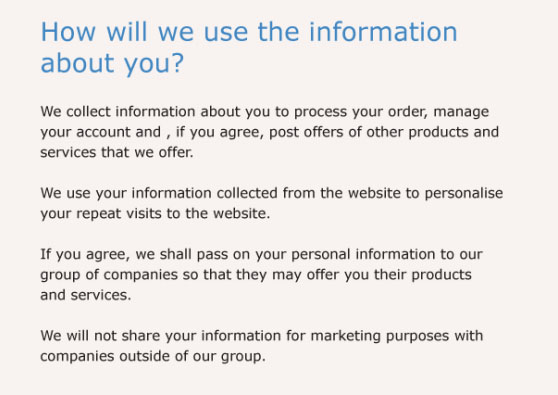 Example of a company Privacy Policy: How we use information about you