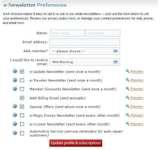 Example of E-Newsletters Preferences Dashboard: Update Subscriptions