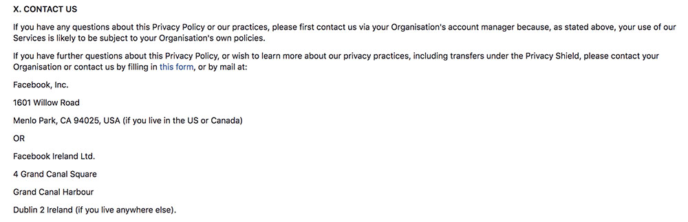 Facebook Privacy Policy: Contact Us clause