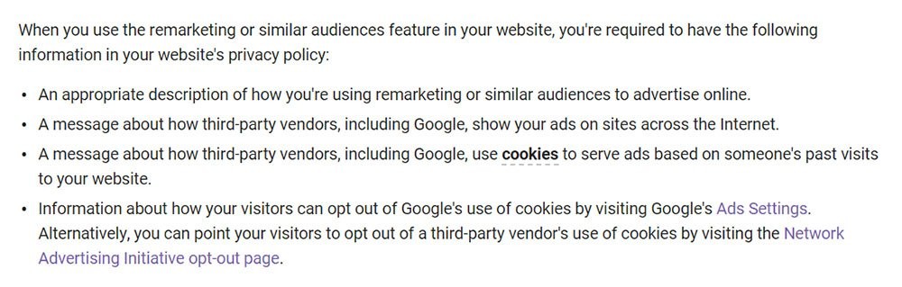 Google AdWords Help: What to Include in Remarketing Privacy Policy
