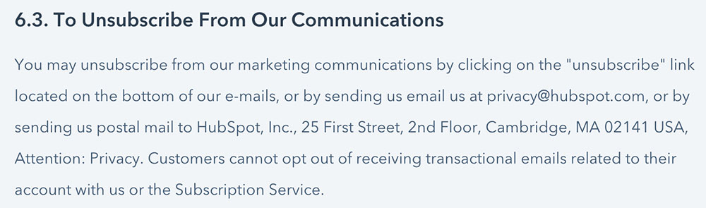 Hubspot Privacy Policy: Unsubscribe from our communications clause