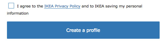 IKEA Create an account: I agree to Privacy Policy checkbox