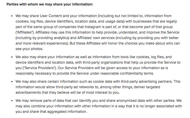 Instagram Privacy Policy: Parties with whom we share personal data