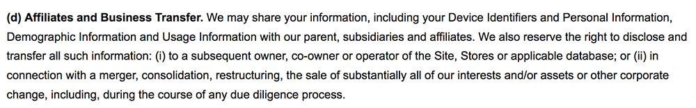 LUSH Cosmetics Privacy Policy: Affiliates and Business Transfer clause example