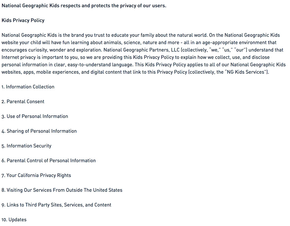 National Geographic: Separate Privacy Policy for Children Use with introduction and contents