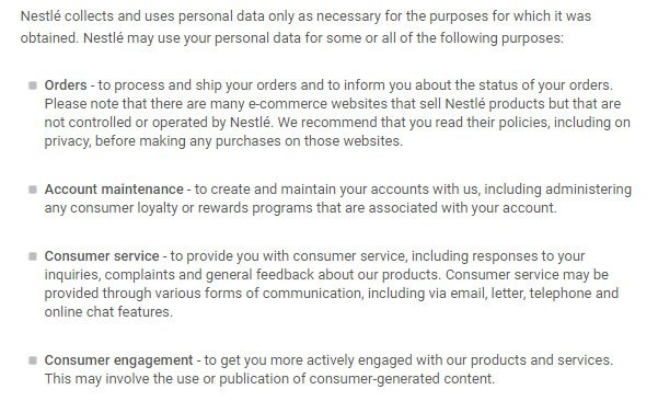 nestle privacy policy why nestle collects personal data clause