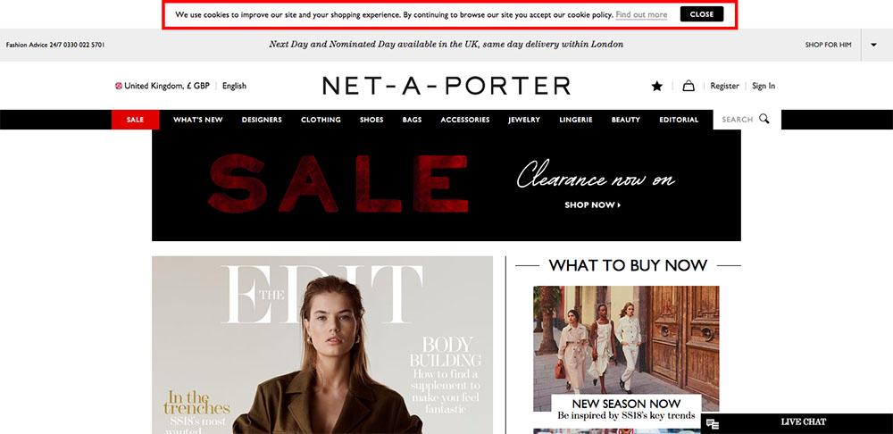 Net-a-Porter Cookies Notifications Pop-up Example