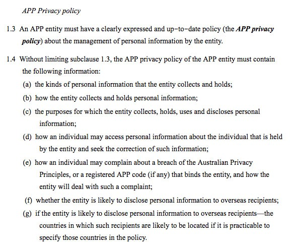 OAIC, Privacy fact sheet 17: Australian Privacy Principles - APP Privacy Policy clause