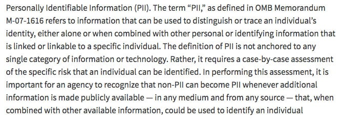 The definition of Personally Identifiable Information (PII) according to Office Management and Budget