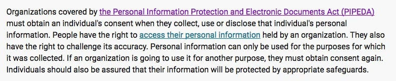 Privacy Commissioner of Canada: PIPEDA in brief intro