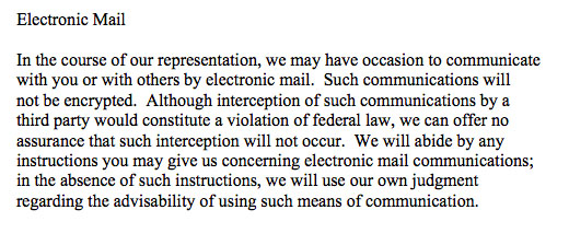 Clause on Electronic Mail in a Privacy Policy