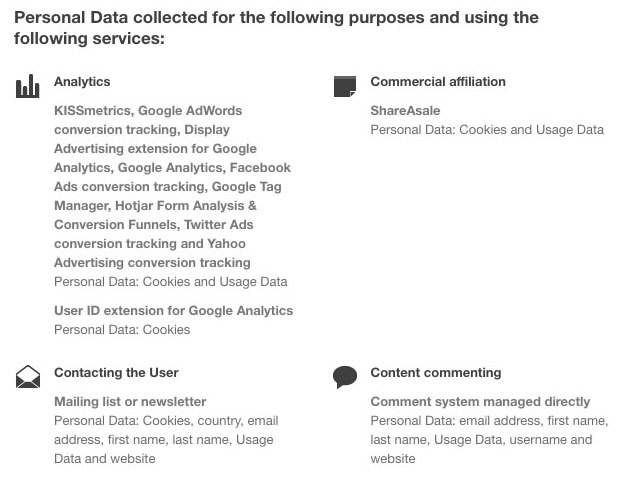 studiopress privacy policy personal data collected for services clause
