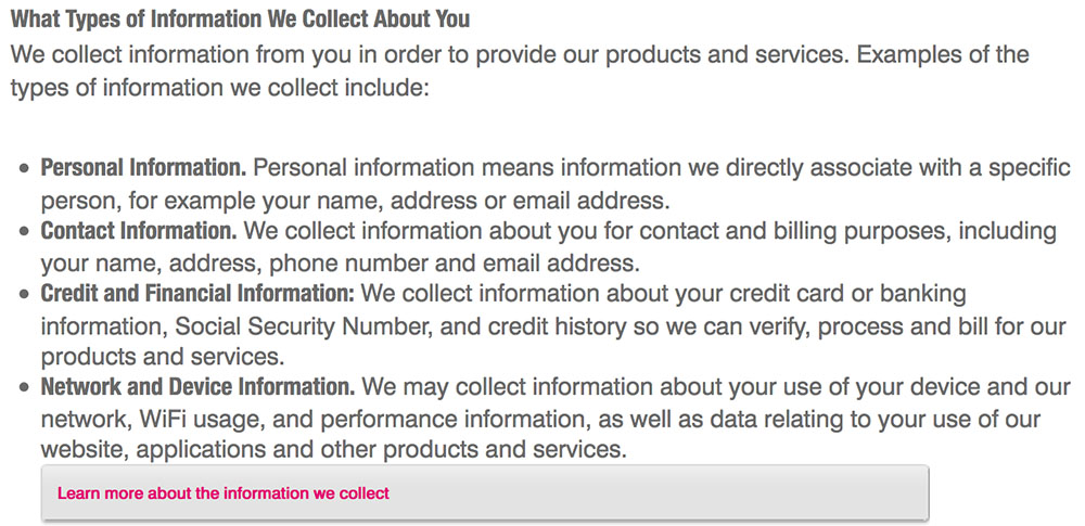 T-Mobile's Privacy Policy:  What types of personal information we collect clause