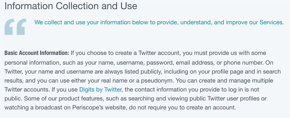 Twitter's Privacy Policy: Information Collection and Use clause