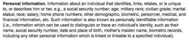 U.S. Defense Department: Definition of Personal Information