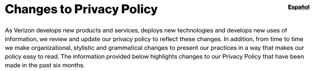Verizon: Changes to Privacy Policy Clause
