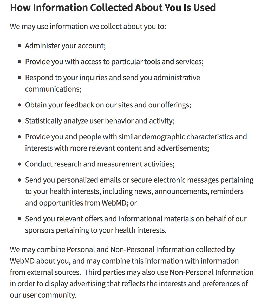 WebMD Privacy Policy: How Information About You is Used Clause