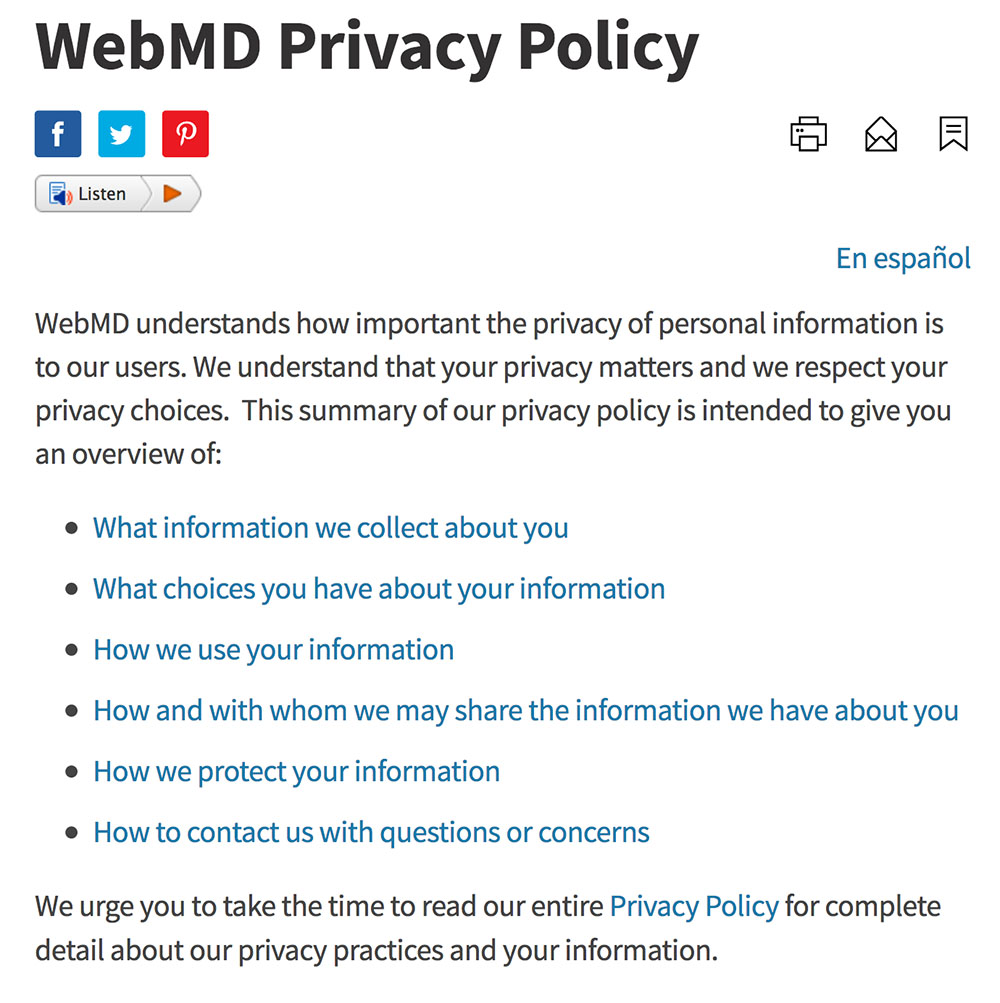 WebMD: Screenshot of Privacy Policy Introduction
