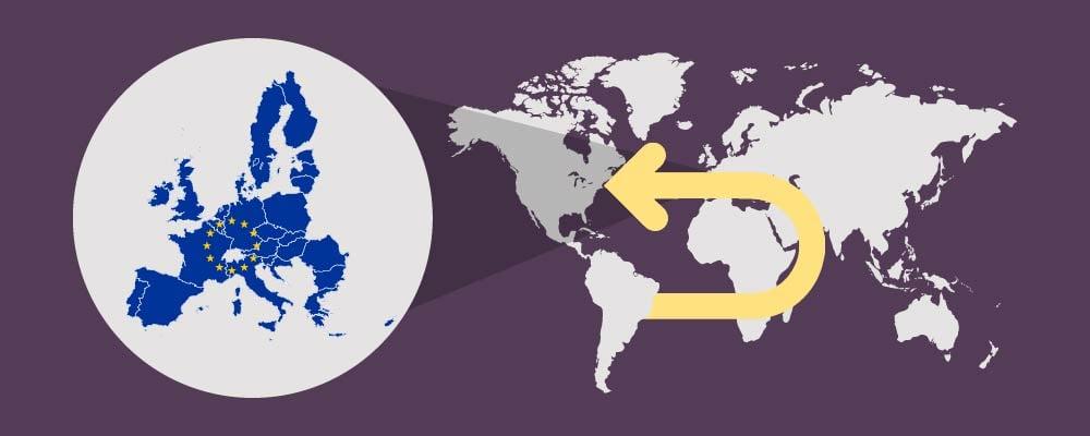 World map arrow back to EU