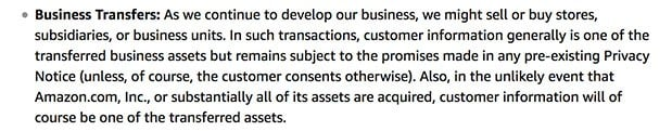 Amazon Privacy Notice: Business Transfers clause