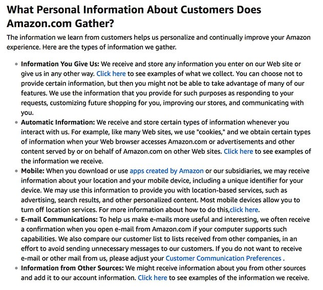 Amazon's Privacy Notice: Information Collected clause