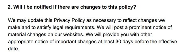 AT and T Privacy Policy: Notification of changes to the policy clause