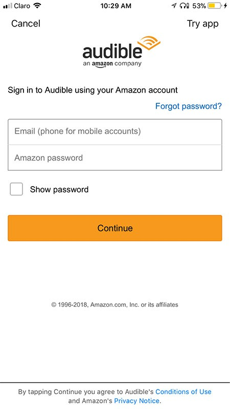 Audible's mobile app sign-in screen
