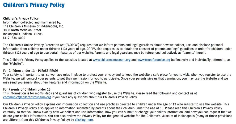 Children's Museum of Indianapolis: Children's Privacy Policy