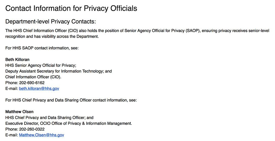 Department of Health and Human Services Privacy Policy: Contact Information for Privacy Officials clause