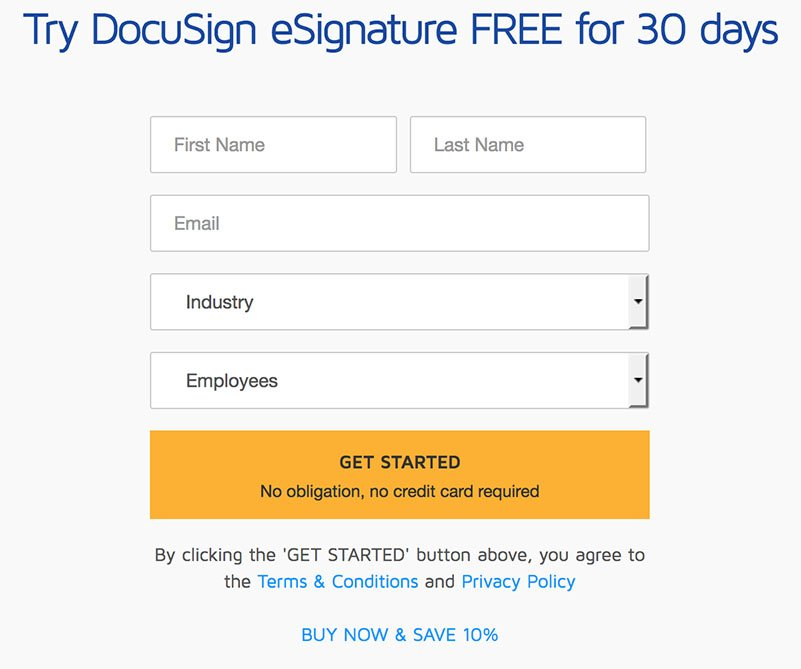 DocuSign account signup page showing Privacy Policy link