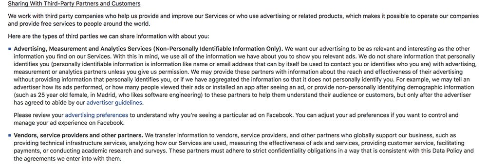 Facebook Privacy Policy: Sharing With Third Party Partners and Customers clause