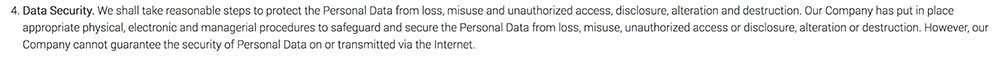 Jive Software Privacy Policy: Data Security clause