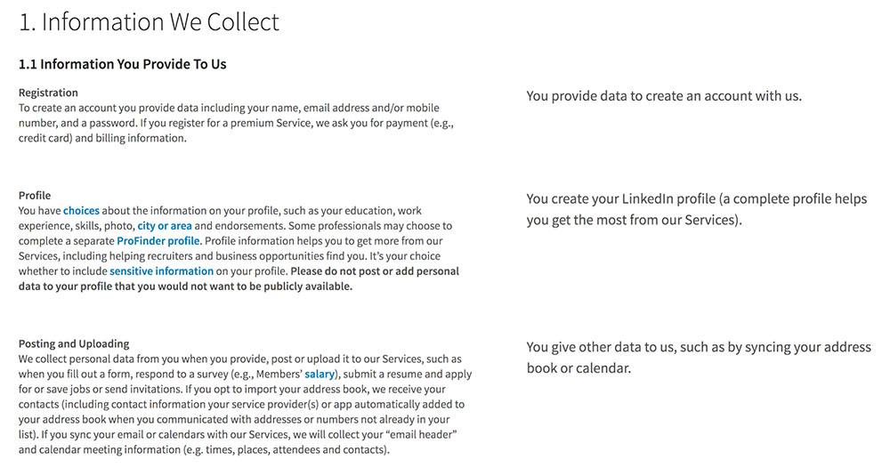 LinkedIn Privacy Policy: Information We Collect clause