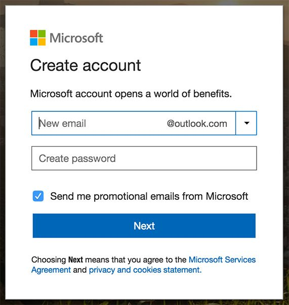Microsoft: Create account registration form