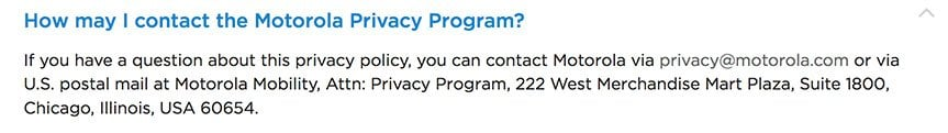 Motorola Privacy Policy: Contact Information clause