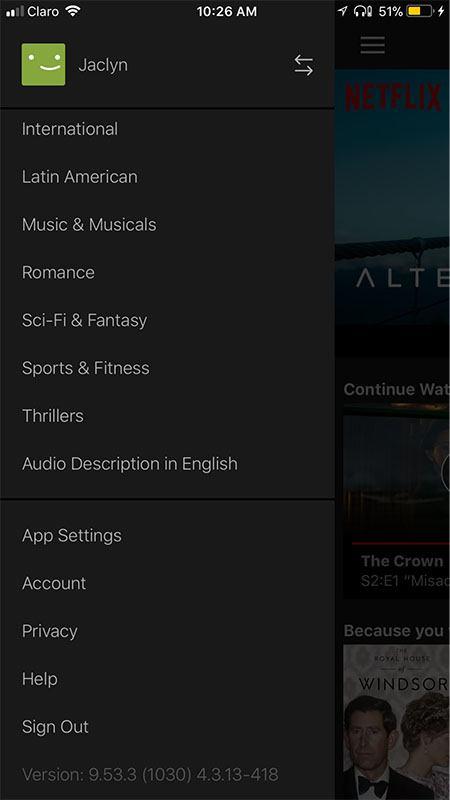 Netflix mobile app Settings menu