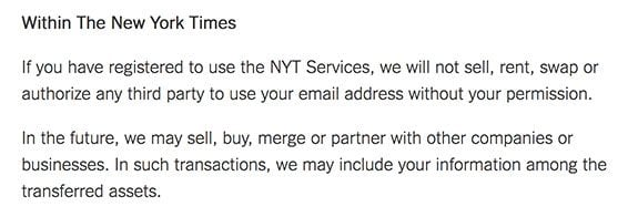 The New York Times Privacy Policy: Clause mentioning business transfers