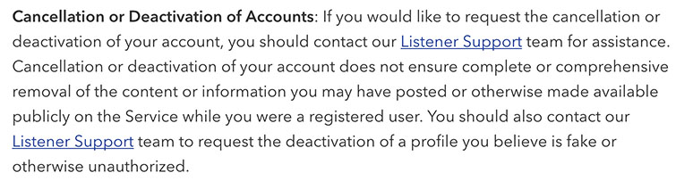 Pandora Privacy Policy: Cancellation or Deactivation of Accounts clause