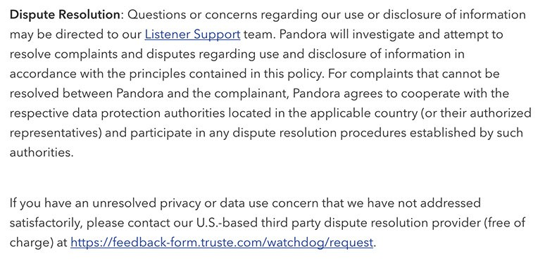 Pandora Privacy Policy: Dispute Resolution clause