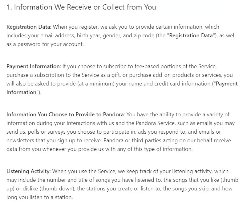 pandora privacy policy information we receive or collect from you clause