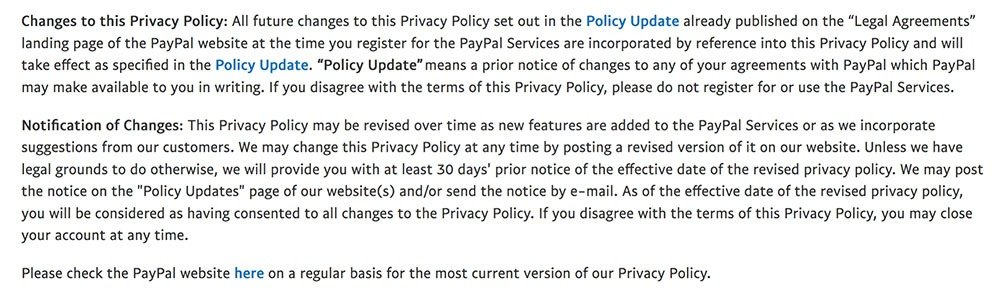 PayPal Privacy Policy: Notification of Changes to this Privacy Policy clause