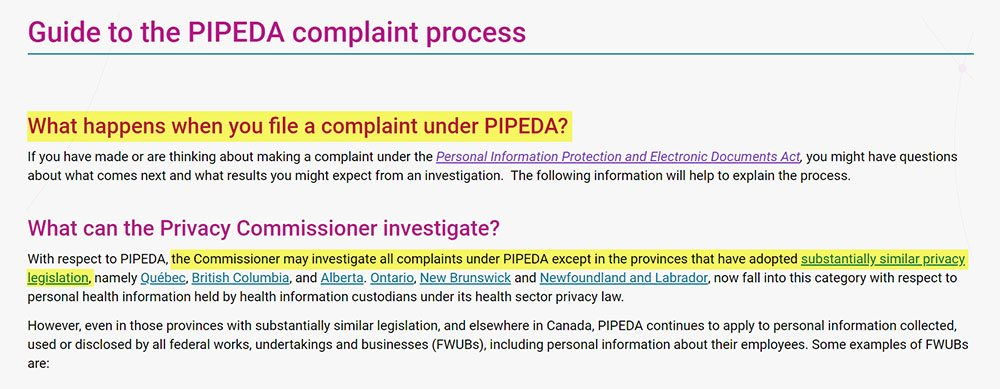 PIPEDA complaint process guide